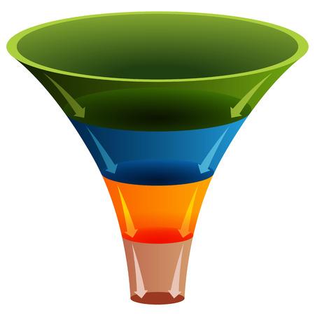cuatro elementos: Una imagen de un gráfico de embudo en capas 3d. Vectores