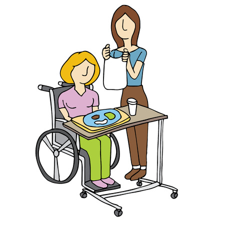 An image of a woman feeding a nursing home patient. Vector