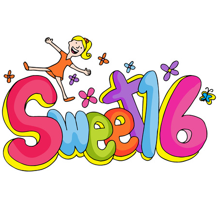 sweet sixteen: An image of a sweet sixteen girl with text. Illustration