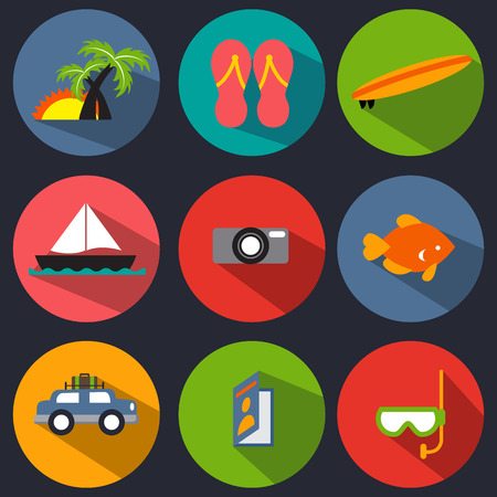 An image of vacation icons. Vector