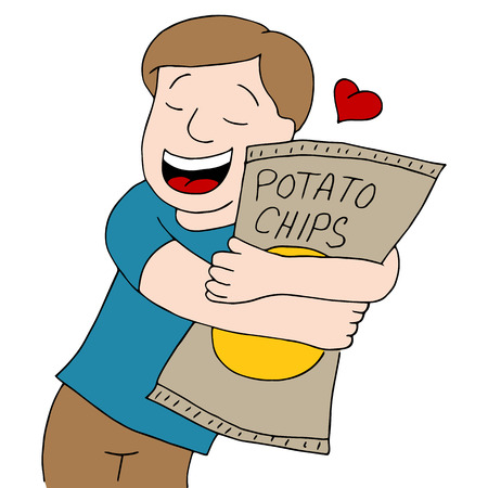 loves: An image of a man who loves potato chips.