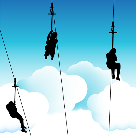 to the line: An image of a group of people on a zip line ride. Illustration