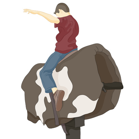 An image of a bull riding man.