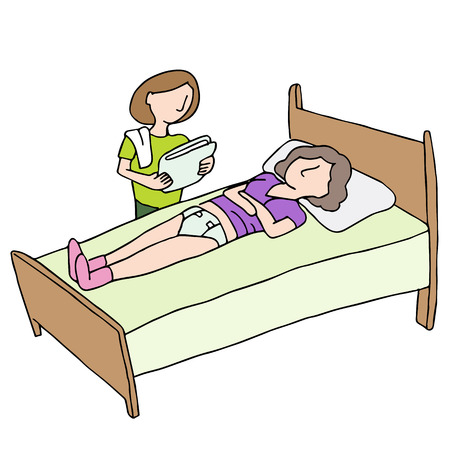 An image of a caregiver changing an adult diaper. Vector