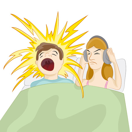 An image of a snoring husband. Vector