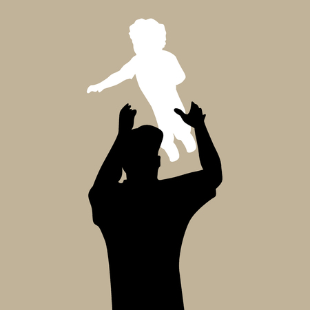 tossing: An image of a dad tossing child. Illustration