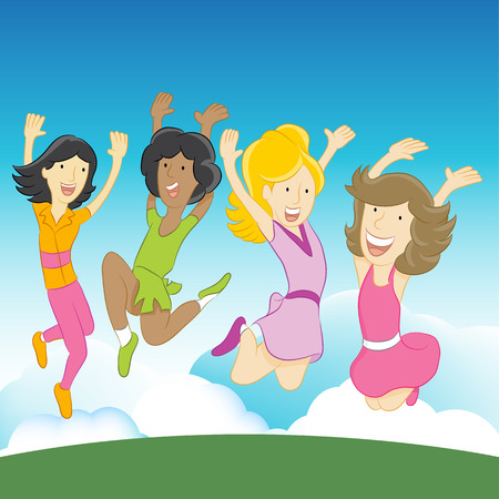 An image of happy girls jumping in the air. Vector