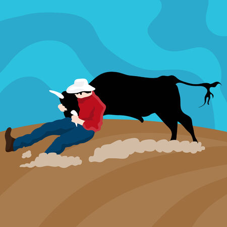 tackling: An image of a cowboy cattle wrangler. Illustration