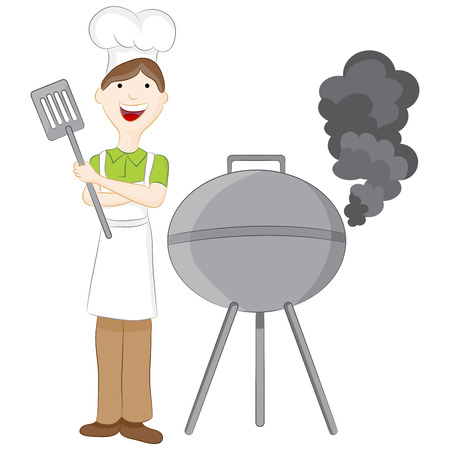 An image of a man barbeque grilling. Vector