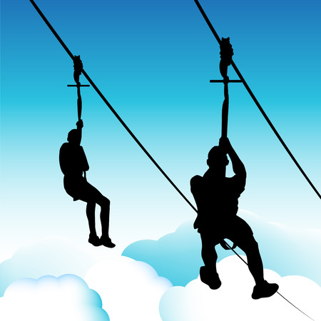 An image of zip line men.