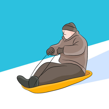 An image of a man riding on a sled.