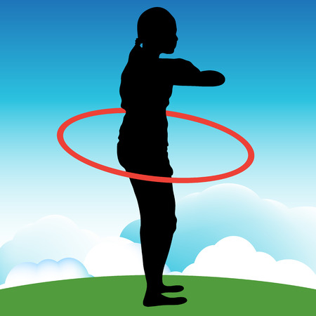 An image of a girl playing with a hoop. Vector