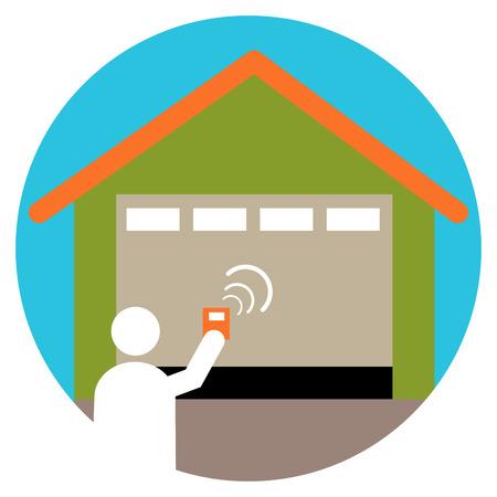 Een afbeelding van een garagedeuropener icoon.