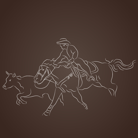 wrangler: An image of a cowboy on a horse catching cattle. Illustration