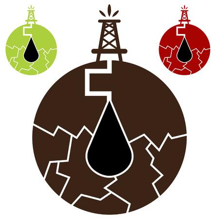 een fracking olie icoon. Stock Illustratie