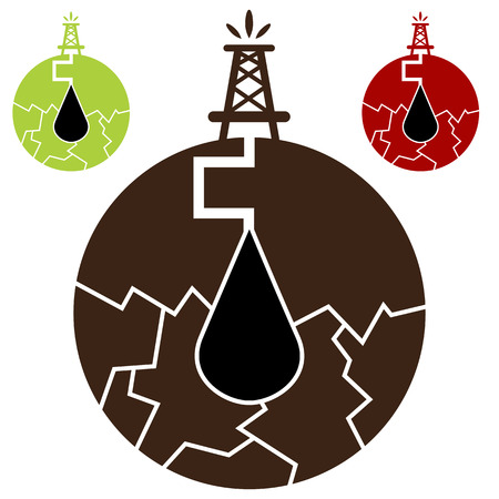 a fracking oil icon. Illustration