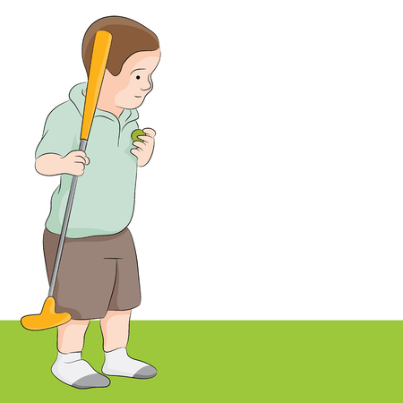 golf cartoon characters: a child playing golf. Illustration
