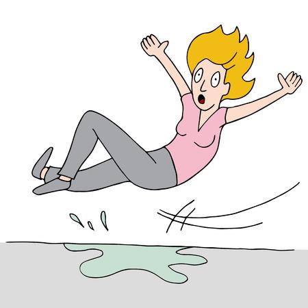 mojado: una mujer que se desliza sobre un piso mojado. Vectores