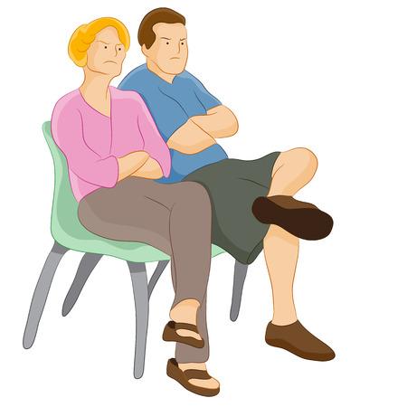 famille malheureuse: les parents de jugement en col�re.