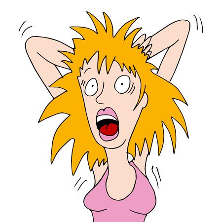 piojos: una mujer con el pelo seco picazón.
