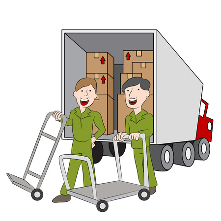 employees of a moving company with their truck. Stock Vector - 31239538