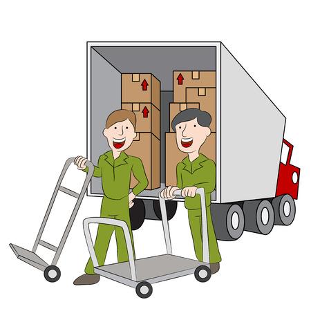 laden: Mitarbeiter eines Umzugsunternehmen mit ihren LKW.