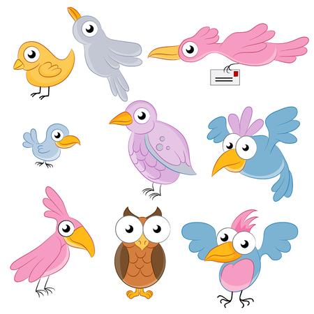 carrier pigeons: cartoon birds.