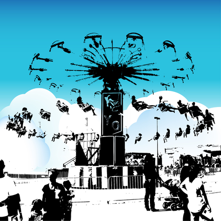 spinning: carnival swing riders - grunge silhouette style. Illustration