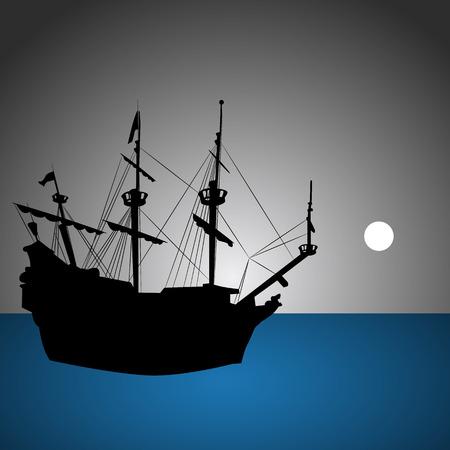 海賊船。  イラスト・ベクター素材