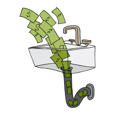 going down: money going down the drain.