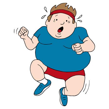 an overweight runner. Vector