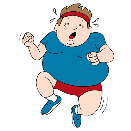 struggling: an overweight runner.