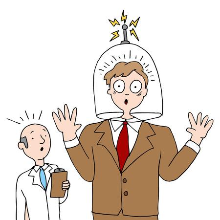 shrinking: a man having his head shrunk by a head shrink.