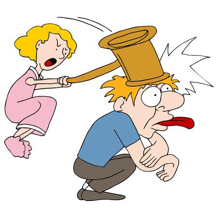 pareja enojada: una ama de casa enojada.