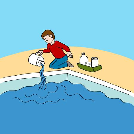 een man met behulp van zwembad chemicaliën.