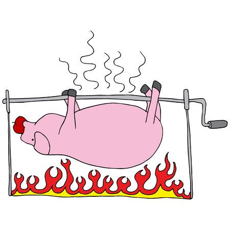 a roasted pig. Ilustracja