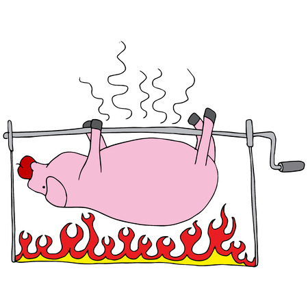 a roasted pig. Vector