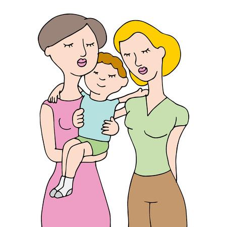 same sex parents holding their child.