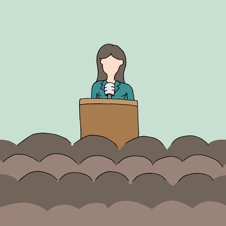 a female public speaker. Vector