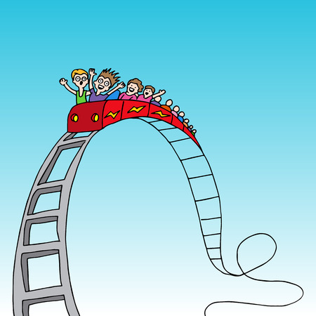 An image of a rollercoaster ride. Vector