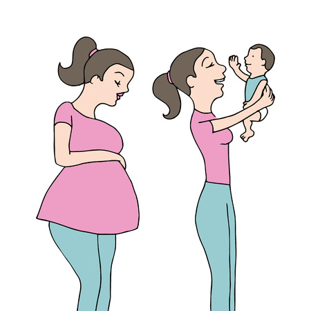 An image of a newborn baby and mother. 일러스트