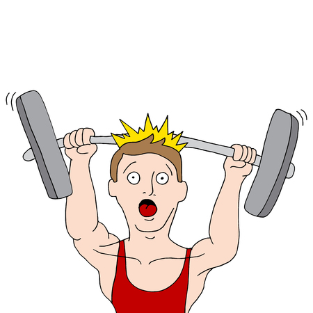 An image of a weightlifting accident. Vector