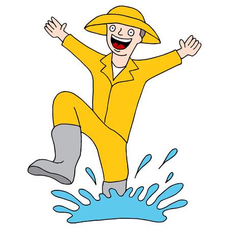 rain coat: An image of a splashing puddle man. Illustration