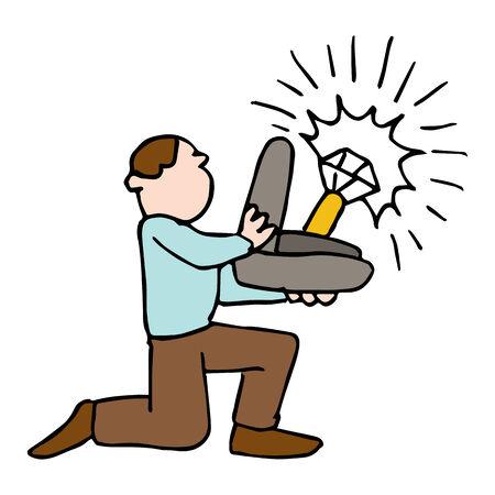 bague de fiancaille: Une image d'un homme tenant une grande bague de fian�ailles.