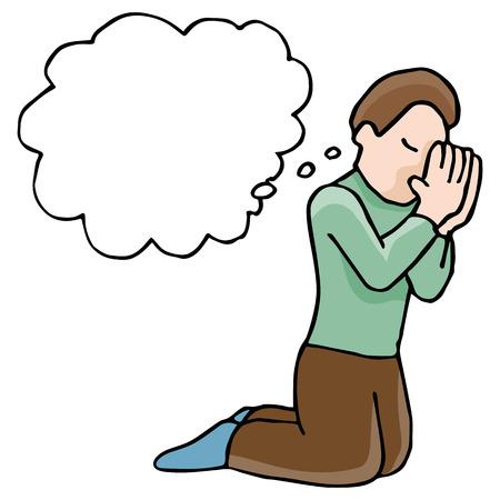 Een beeld van een biddende man.