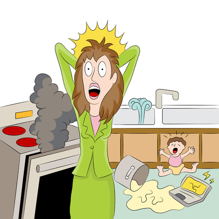 An image of a stressed out working mom. Stock Vector - 31849129