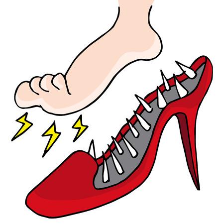 dolore ai piedi: Un'immagine di scarpe dolorose. Vettoriali