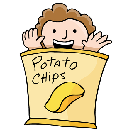 An image of a kid inside a bag of potato chips. Vector
