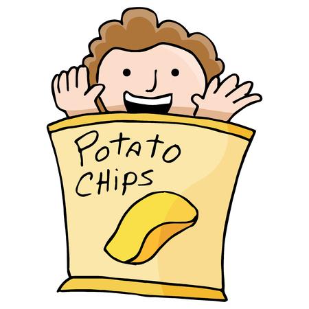 Een afbeelding van een kind in een zak chips. Stock Illustratie