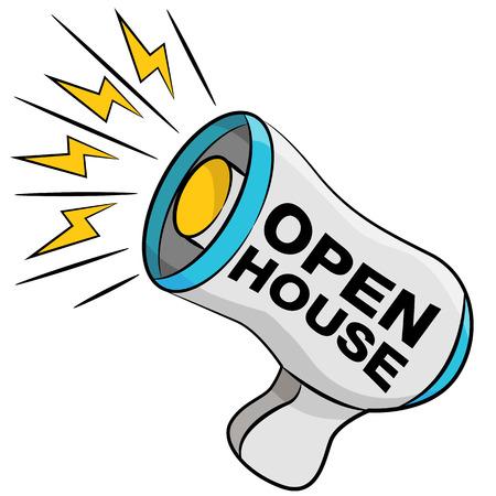 Een beeld van een open huis megafoon.